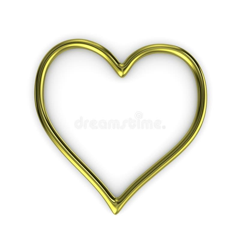 Ouro Ring Frame da forma do coração ilustração do vetor