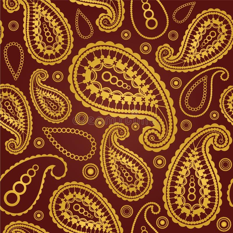 Ouro sem emenda e teste padrão marrom de paisley ilustração royalty free