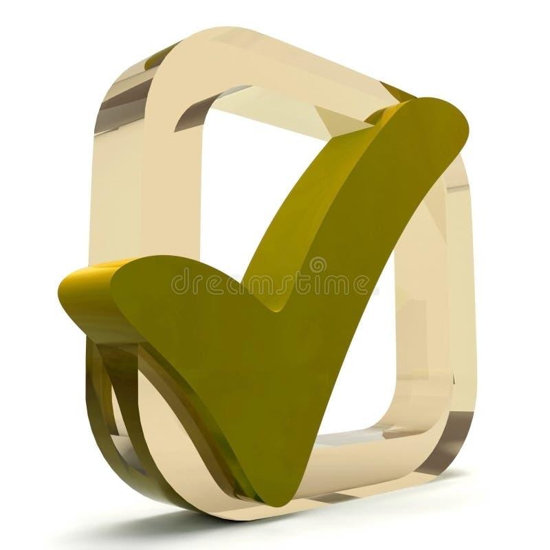 Ouro Tick Shows Quality And Excellence ilustração do vetor