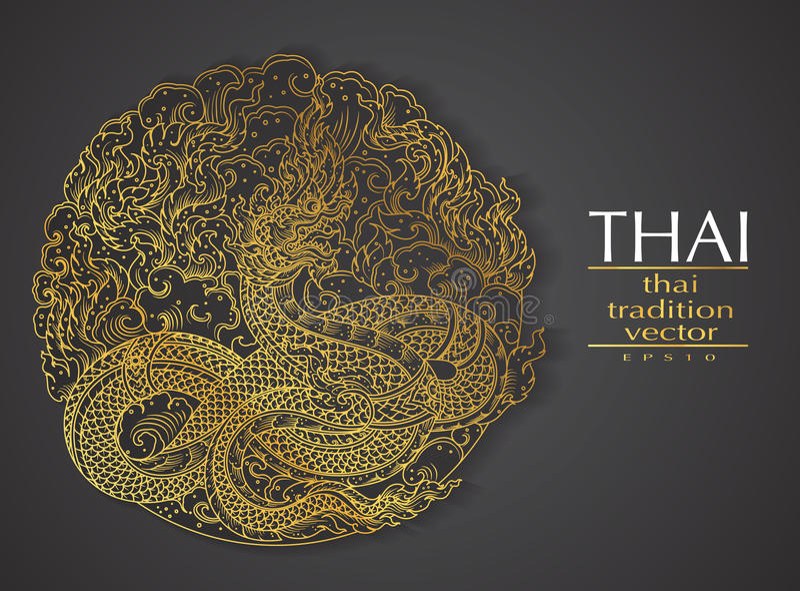 Ouro tradicional do elemento tailandês da arte para cartões ilustração royalty free