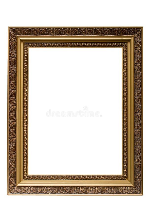 Ouro vazio frame de retrato de madeira chapeado isolado imagens de stock royalty free