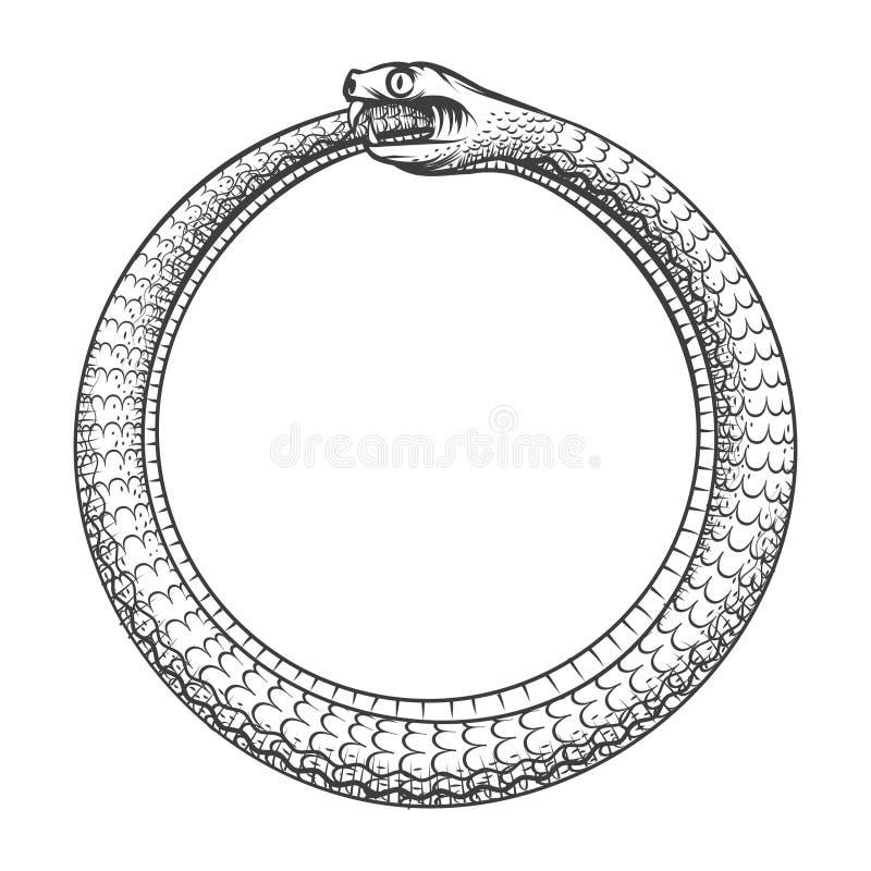 Ouroboros的不可思议的标志 与蛇的纹身花刺 库存例证