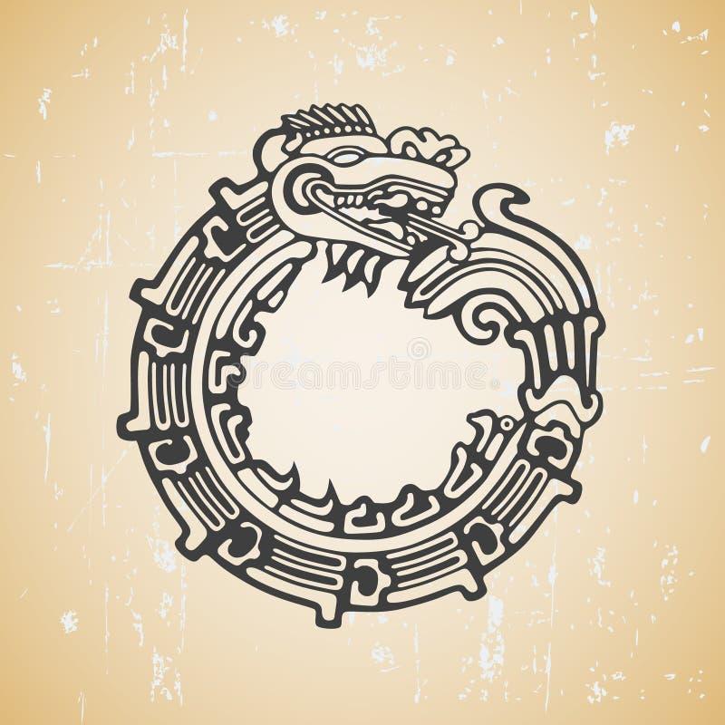 Ouroboros de Quetzalcoatl da serpente do Maya ilustração do vetor