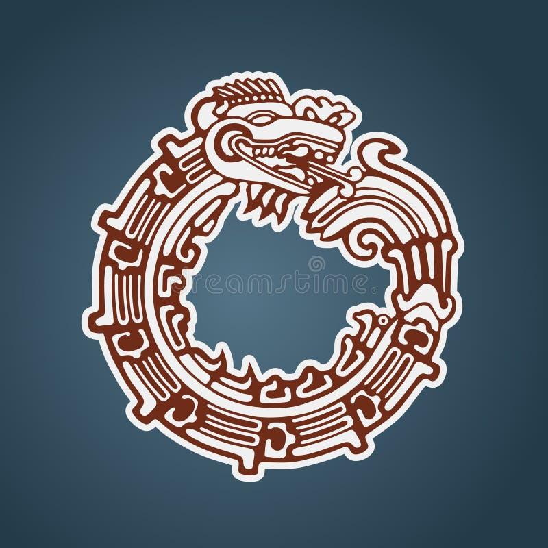 Ouroboros de Quetzalcoatl da serpente do Maya ilustração royalty free