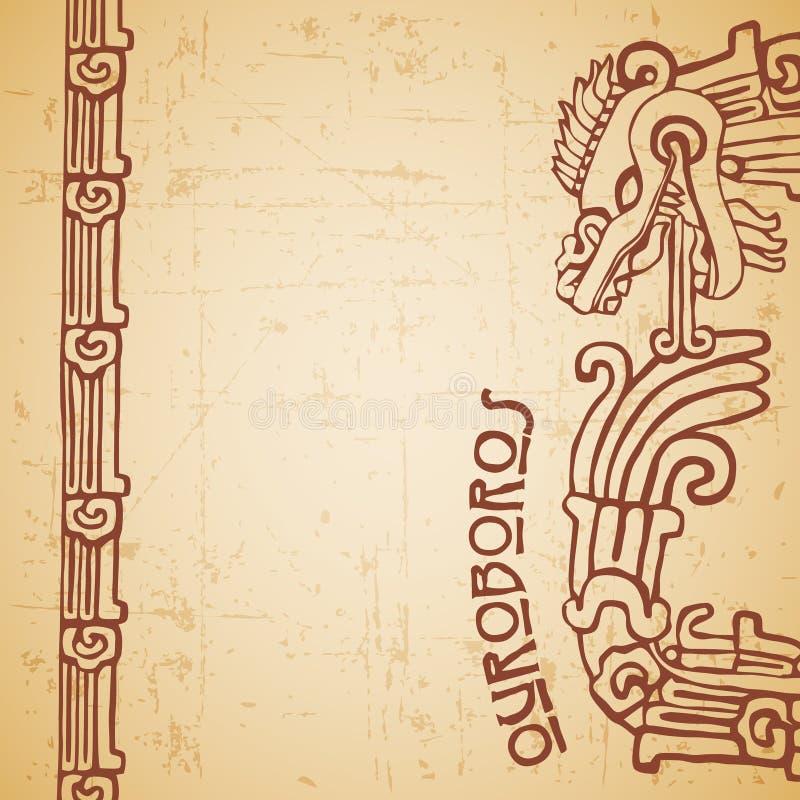 Ouroboros de Quetzalcoatl da serpente do Maya meios ilustração stock