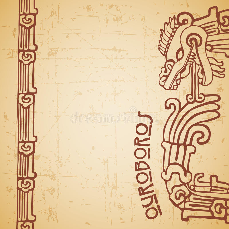 Ouroboros de Quetzalcoatl de la serpiente del maya medios stock de ilustración