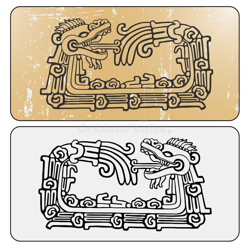 Ouroboros dobles de Quetzalcoatl de la serpiente del maya ilustración del vector