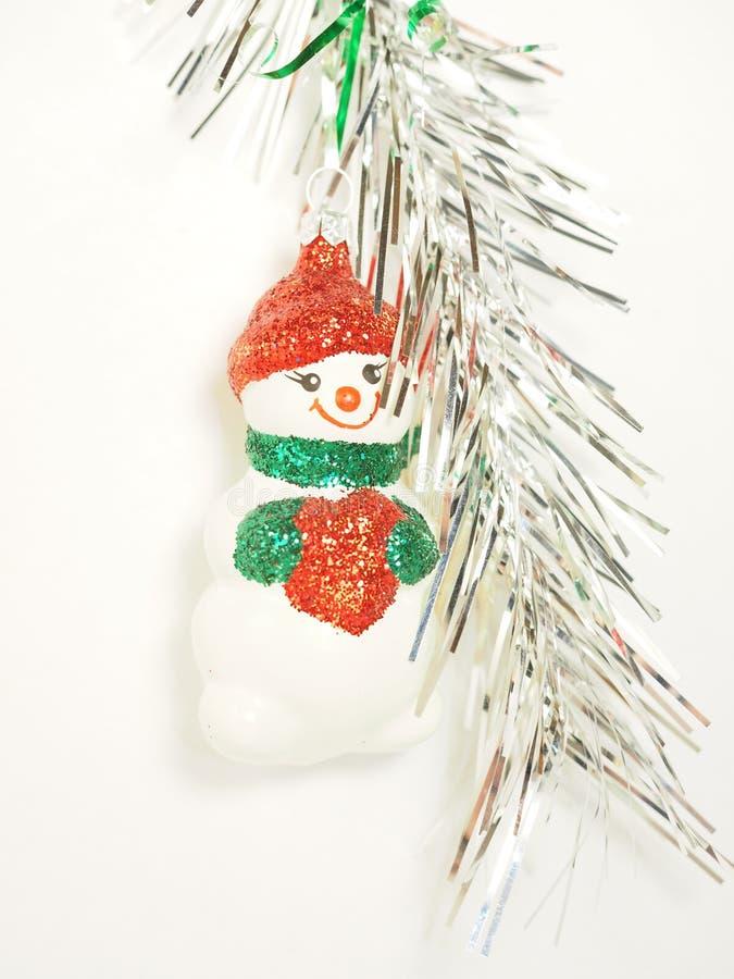 Ouropel de suspensão do boneco de neve do brinquedo do Natal foto de stock royalty free