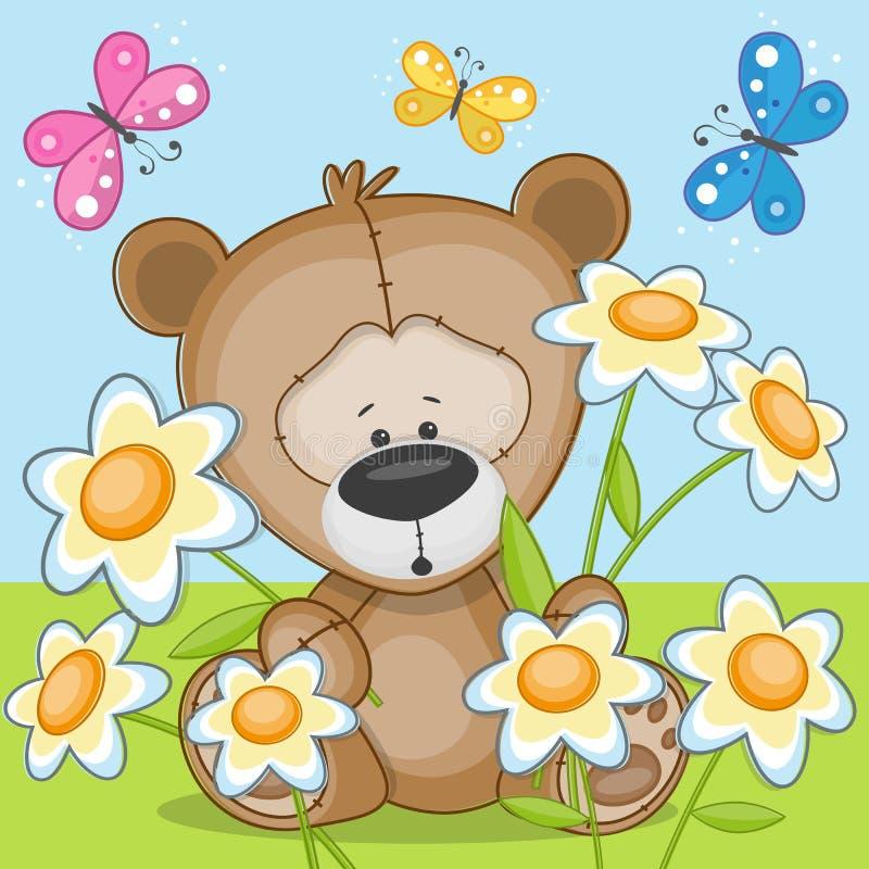 Ours avec des fleurs illustration de vecteur