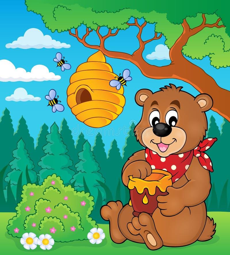 Ours avec l'image 2 de thème de miel illustration libre de droits