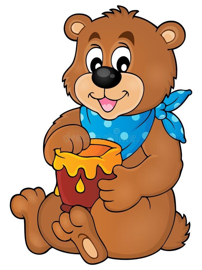 Ours avec l'image 1 de thème de miel illustration de vecteur