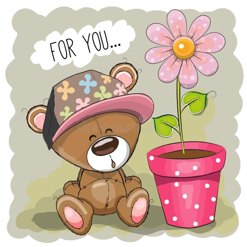 Ours avec la fleur illustration de vecteur