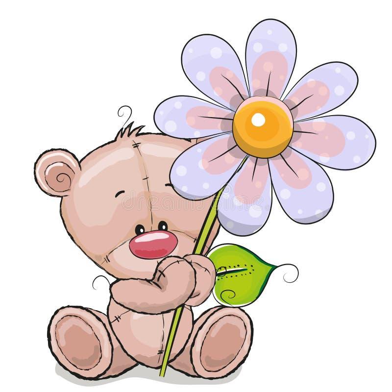 Ours avec la fleur illustration stock