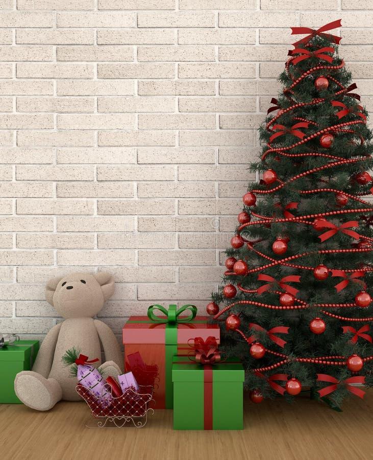 Ours avec le cadeau et arbre de Noël dans la chambre d'enfant ou le salon - illustration pour le jour de Noël - rendu 3D illustration libre de droits