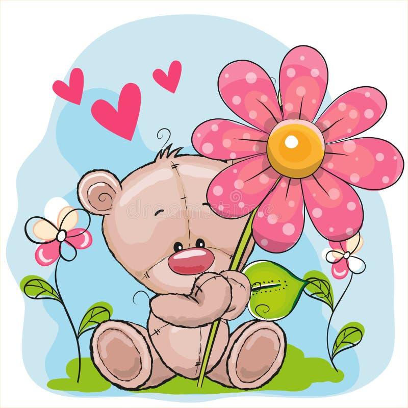 Ours avec le coeur et la fleur illustration de vecteur
