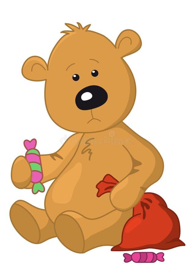 Ours avec un sac et un bonbon illustration libre de droits