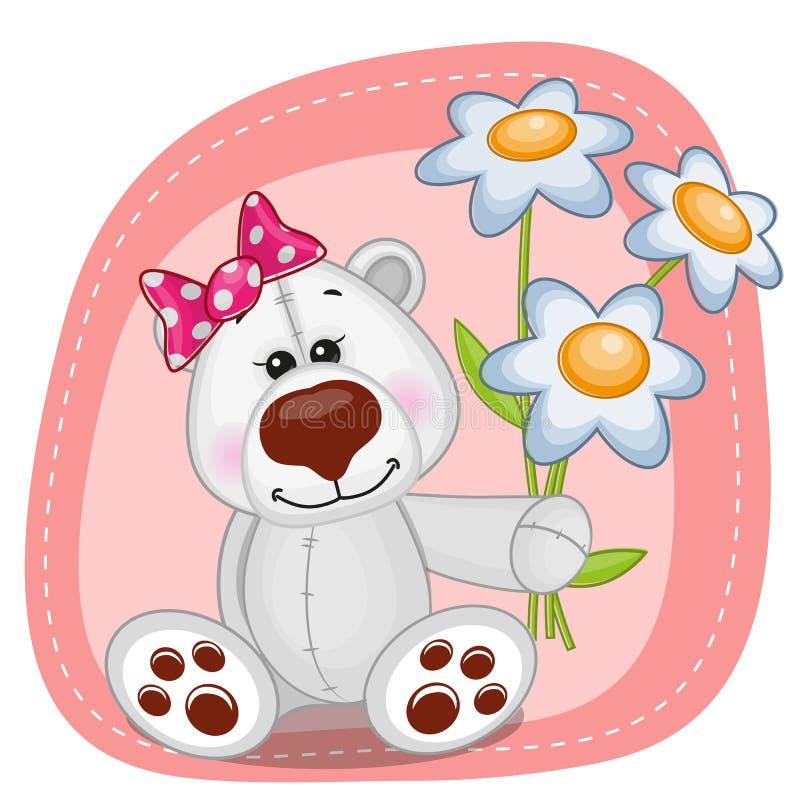 Ours blanc avec des fleurs illustration de vecteur
