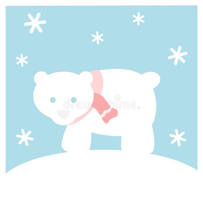 Ours blanc avec l'écharpe illustration de vecteur