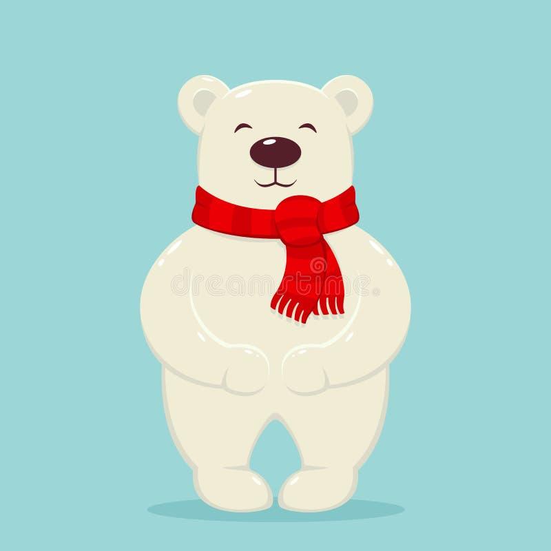Ours blanc avec l'écharpe rouge illustration stock