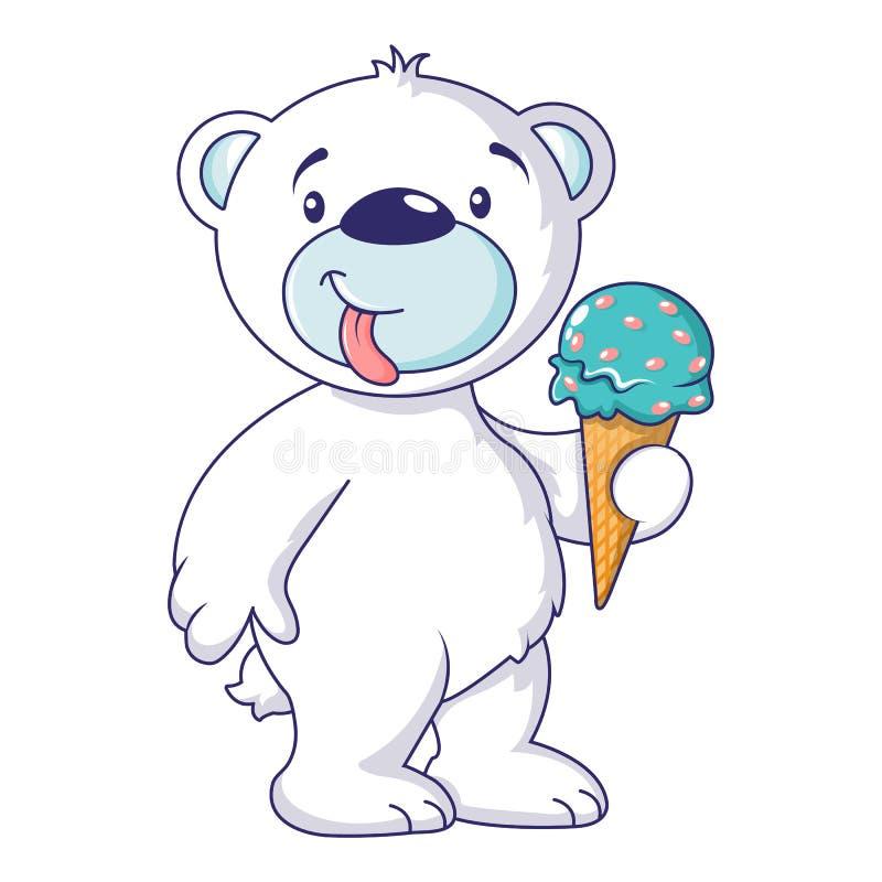 Ours blanc avec l'icône de crème glacée, style de bande dessinée illustration de vecteur