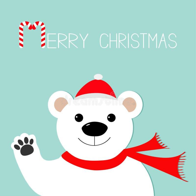 Ours blanc blanc dans le chapeau du père noël et l'écharpe, patte Canne de sucrerie Carte de voeux de Joyeux Noël Fond pour une c illustration stock