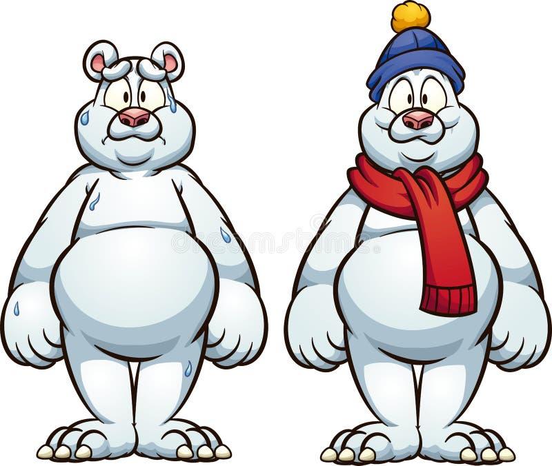 Ours blanc chaud et à froid, triste et heureux illustration de vecteur