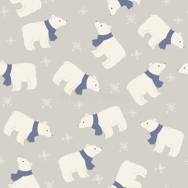 Ours blanc dans un modèle sans couture d'écharpe bleue illustration de vecteur