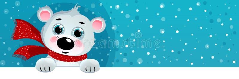 Ours blanc de bande dessinée, fond de Noël photographie stock libre de droits
