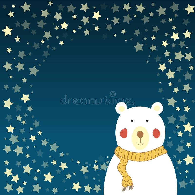 Ours blanc et ciel étoilé photographie stock libre de droits