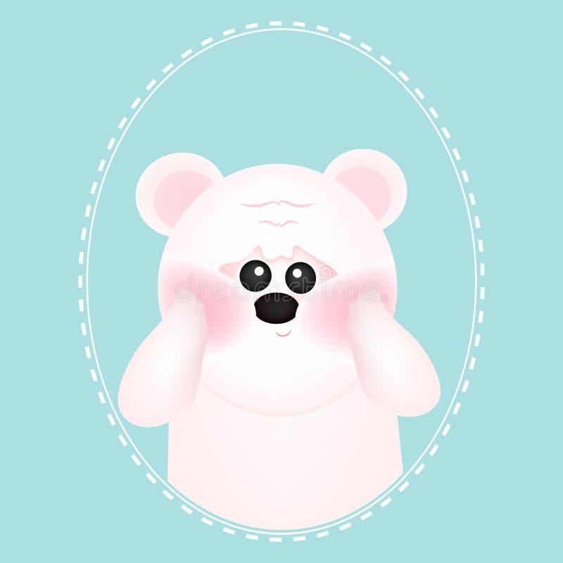Ours blanc mignon avec les joues rouges, sur les milieux bleus Pour la carte et l'invitation de b?b? Illustration de vecteur illustration de vecteur