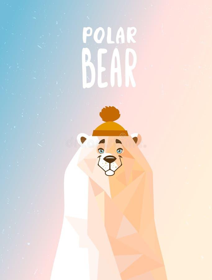 Ours blanc mignon dans un chapeau photo libre de droits