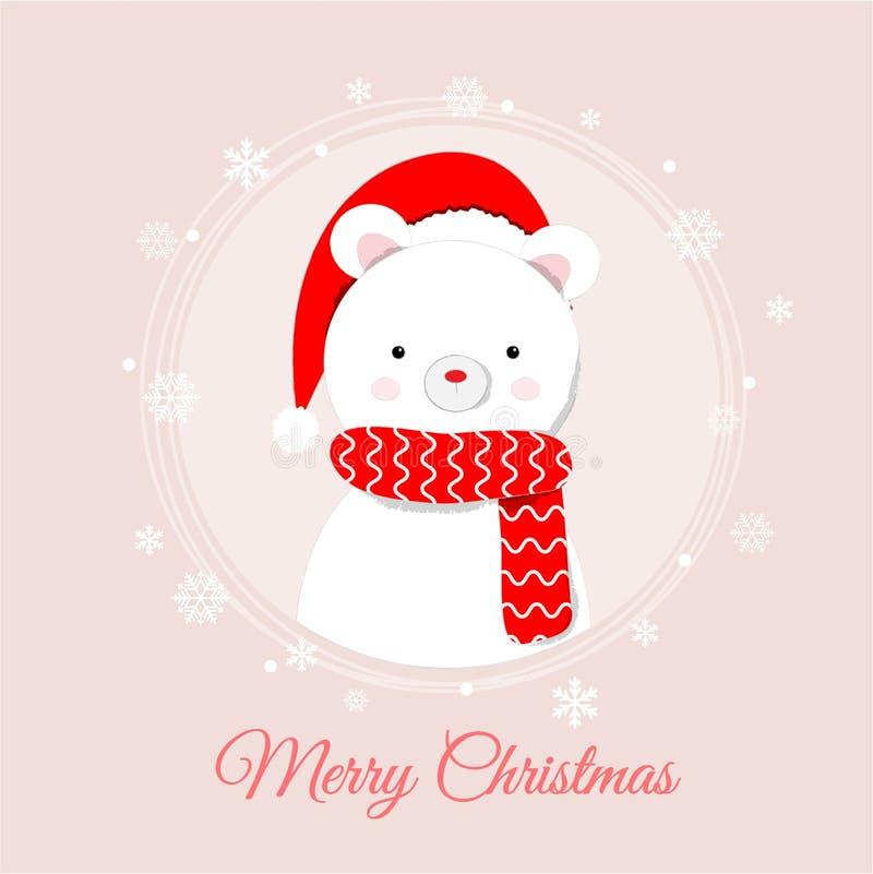 Ours blanc mignon se tenant dans la neige, beau fond de Noël illustration stock