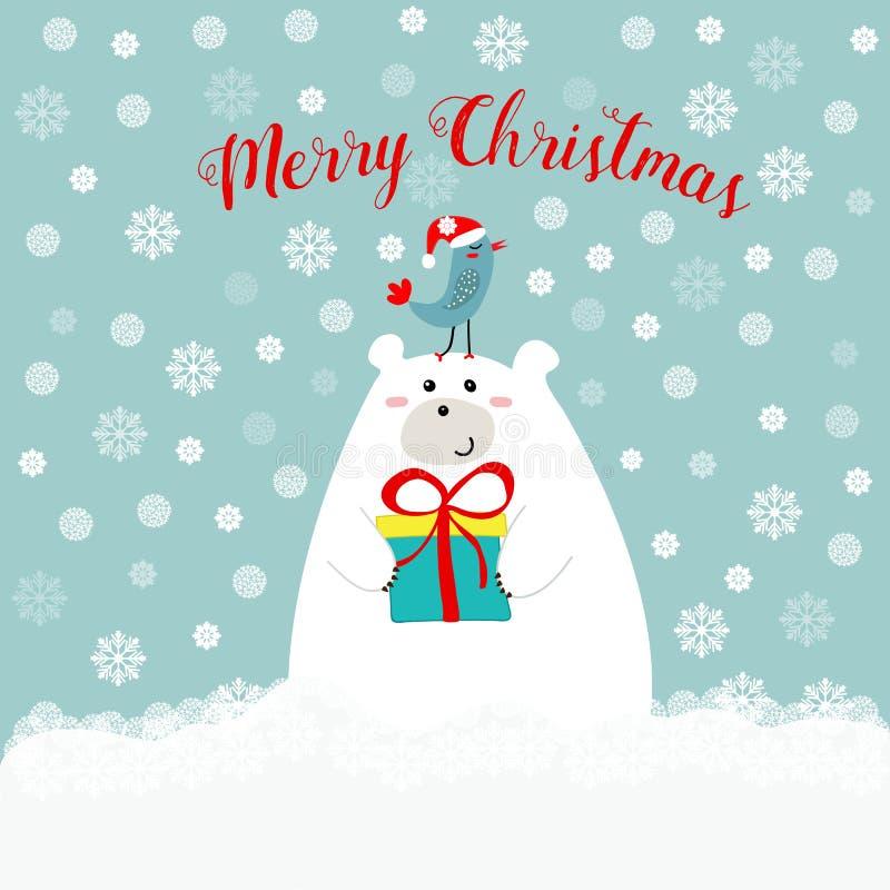Ours blanc mignon tiré par la main tenant l'oiseau de kawaii de boîte-cadeau dans le chapeau du père noël sur le sien texte de Jo illustration de vecteur
