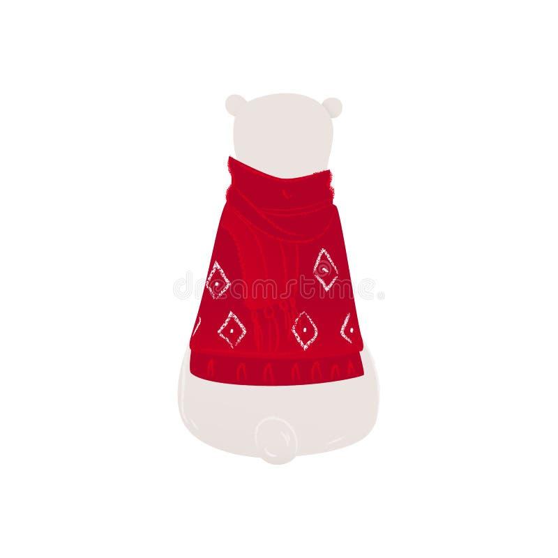 Ours blanc polaire dans un drôle de chandail de Noël assis à la vue de l'illustration vectorielle plate du dos isolé illustration de vecteur