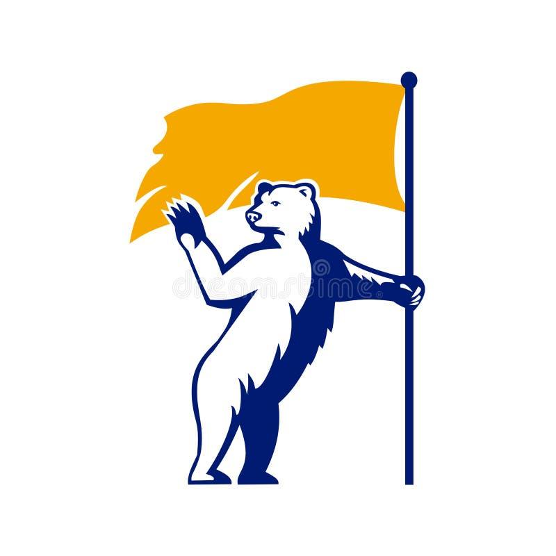 Ours blanc tenant la mascotte de ondulation de drapeau illustration de vecteur