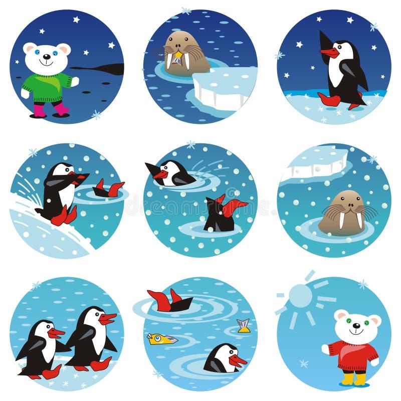Ours blancs, pingouins, sceau illustration de vecteur