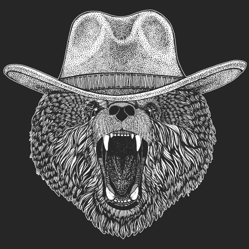 Ours Chapeau de cowboy américain traditionnel occidental sauvage Rodéo du Texas Copie pour des enfants, T-shirt d'enfants Image p illustration libre de droits