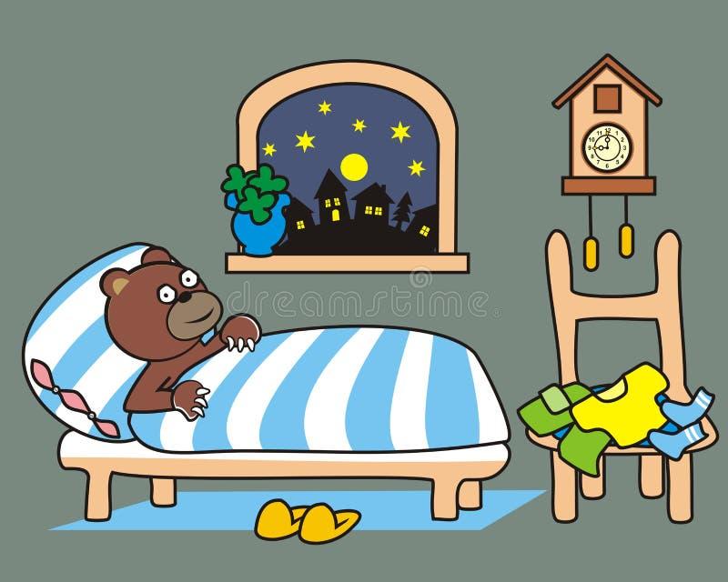 Ours dans le lit illustration stock
