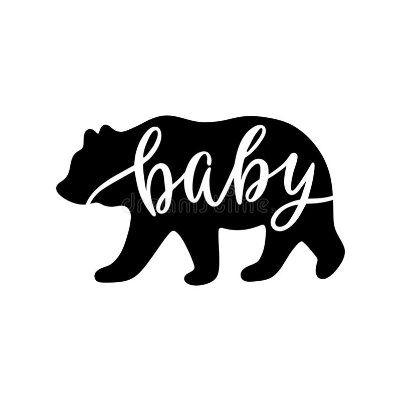 Ours de bébé Citation inspirée avec la silhouette d'ours illustration stock