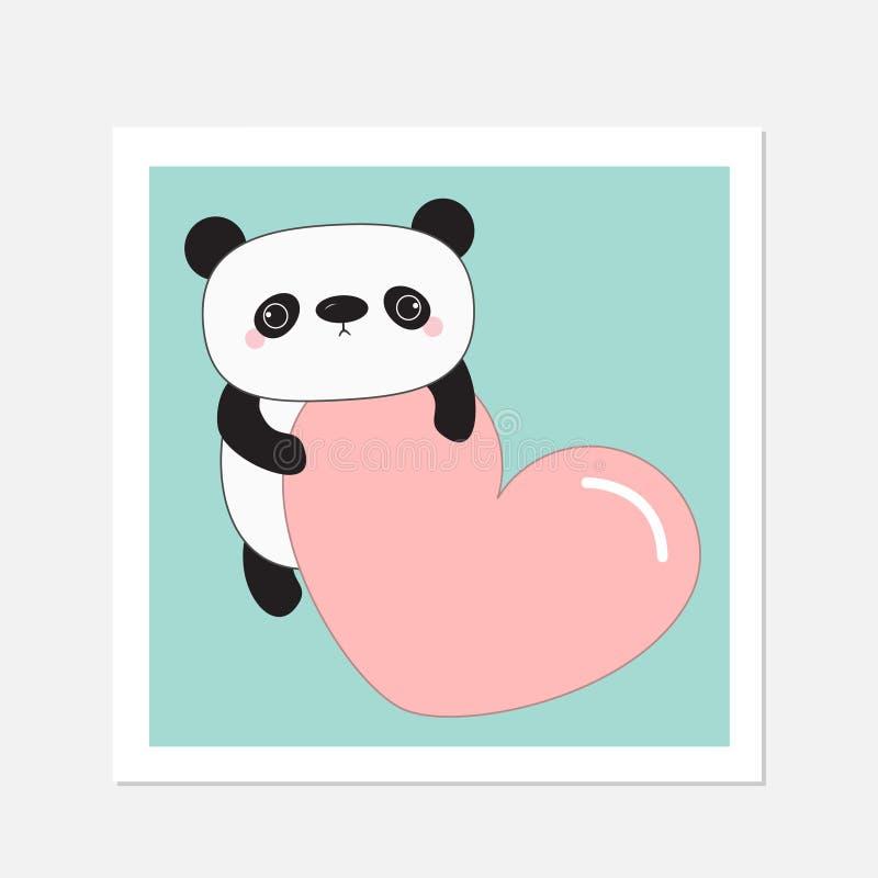 Ours de bébé de panda de Kawaii cadre blanc Personnage de dessin animé mignon tenant le grand coeur rose illustration libre de droits