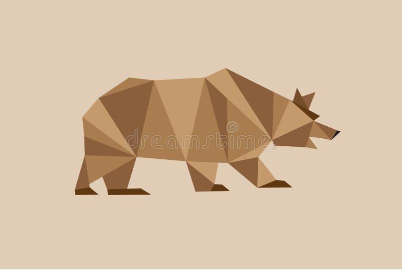 Ours de Brown avec beaucoup de triangles géométriques illustration de vecteur