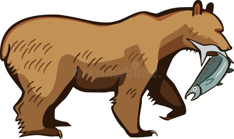 Ours de Brown avec un saumon illustration de vecteur