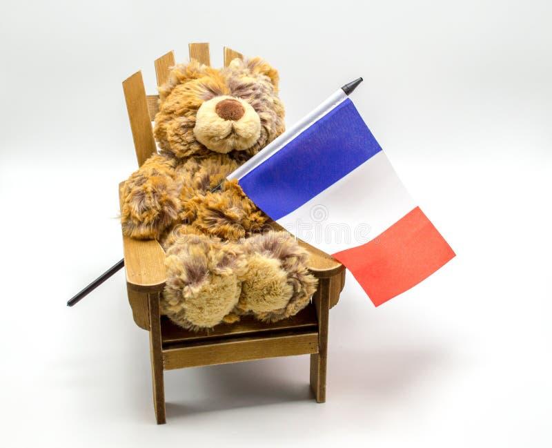 Ours de jouet de peluche dans une chaise jugeant un drapeau français tricolore d'isolement sur le blanc images stock