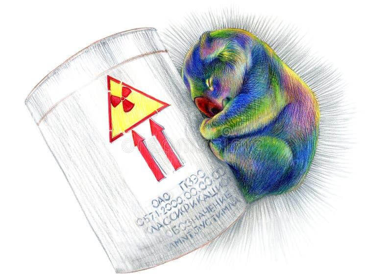 Ours de koala radioactif coloré d'arc-en-ciel somnolent de dessin au crayon acide photographie stock libre de droits