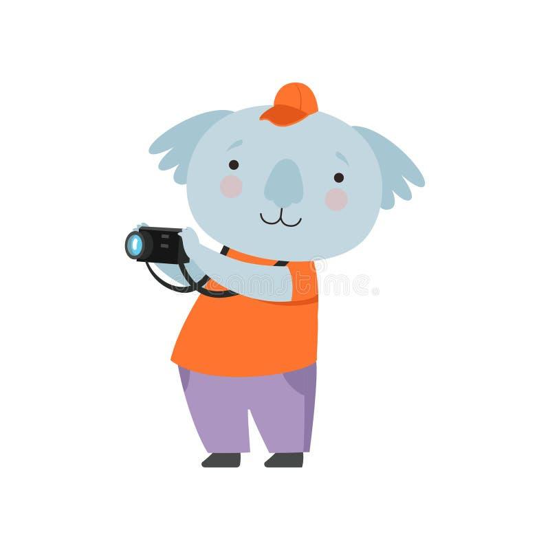 Ours de koala de touristes gai prenant des photos avec la caméra, personnage de dessin animé animal mignon voyageant des vacances illustration libre de droits