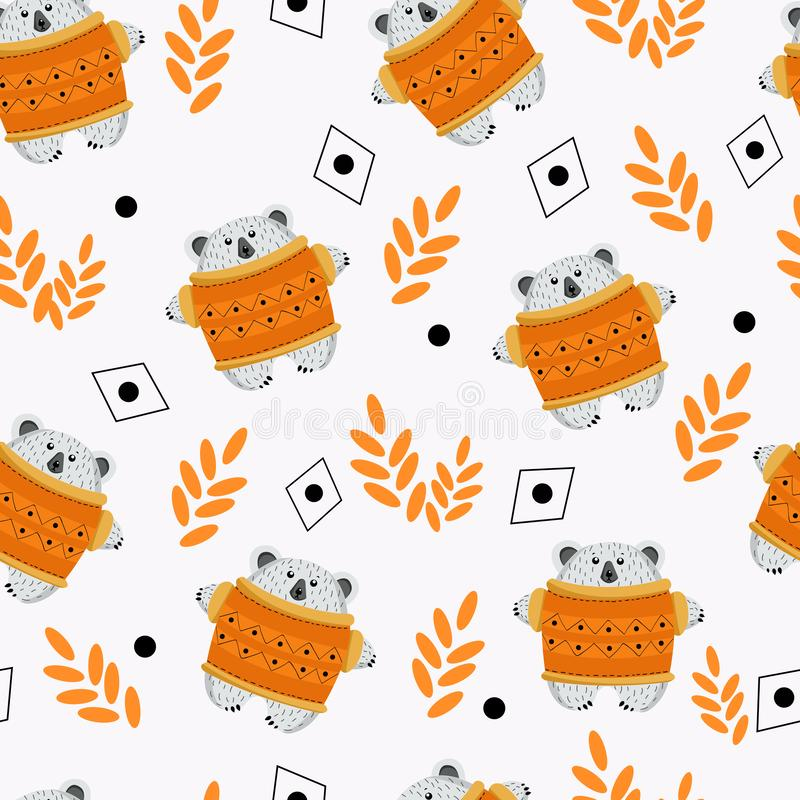 Ours de modèle et ensemble sans couture de récolte d'automne de champignons, pommes, baies, miel, feuilles pour la conception du  illustration de vecteur