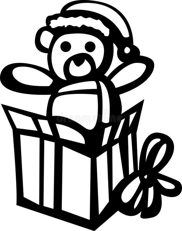 Ours de Noël dans un cadre de cadeau illustration libre de droits