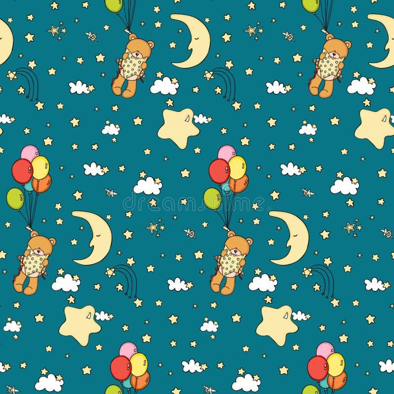 Ours de nounours à l'arrière-plan sans couture de bonne nuit illustration de vecteur