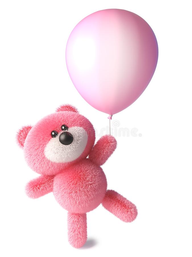 Ours de nounours avec des débuts pelucheux roses de fourrure pour flotter se tenir sur un ballon rose, illustration 3d illustration libre de droits