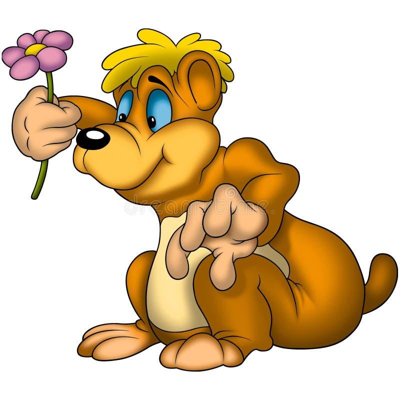 Ours de nounours avec la fleur illustration de vecteur